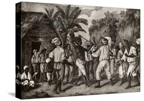 Cudgeling Match Between English and French Negroes on Island of Dominica--Stretched Canvas Print