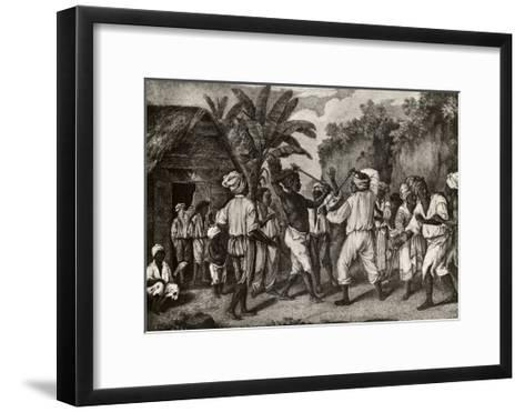 Cudgeling Match Between English and French Negroes on Island of Dominica--Framed Art Print