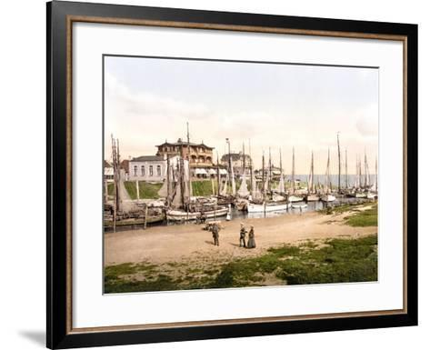 Fishing Boats Moored in Busum with Several Spa Hotels in Background--Framed Art Print
