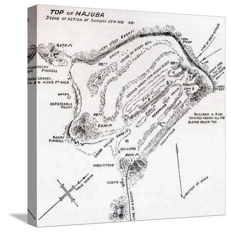 Map of the Scene of Action During the Battle of Majuba Hill--Stretched Canvas Print