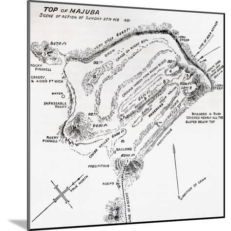 Map of the Scene of Action During the Battle of Majuba Hill--Mounted Giclee Print