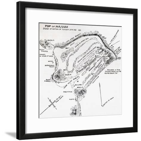 Map of the Scene of Action During the Battle of Majuba Hill--Framed Art Print
