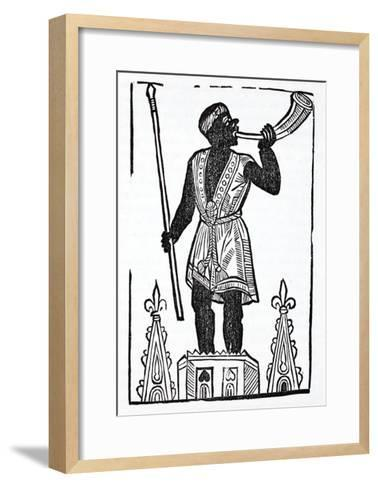 A Moor Standing on a Tower Blowing a Horn to Wake the Dead and Gather Them--Framed Art Print