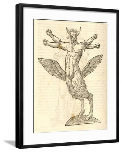 "Illustration of ""Monstrum Tetrachiron Alatum Capite Humano Aurito""--Framed Art Print"