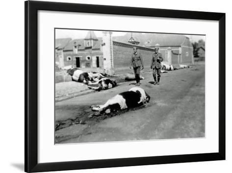 Two German Soldiers Among a Herd of Dead Cows in Front of a Farm--Framed Art Print