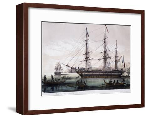 Arrival of Ships Astrolabe and Zelee at Nuku Hiva Island--Framed Art Print
