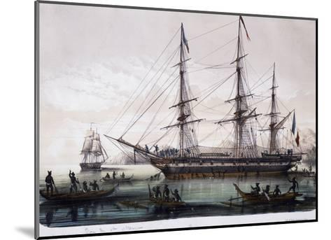 Arrival of Ships Astrolabe and Zelee at Nuku Hiva Island--Mounted Giclee Print
