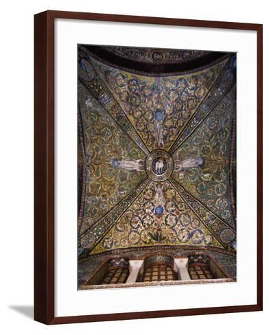 Clipeus with Mystic Lamb Being Supported by Four Angels and Nature Motifs--Framed Art Print