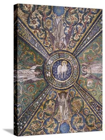 Clipeus with Mystic Lamb Being Supported by Four Angels and Nature Motifs--Stretched Canvas Print