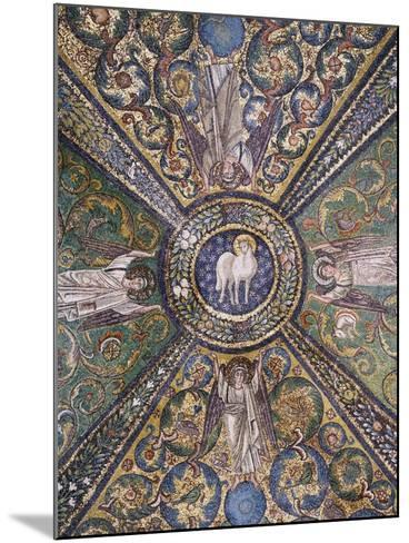 Clipeus with Mystic Lamb Being Supported by Four Angels and Nature Motifs--Mounted Photographic Print