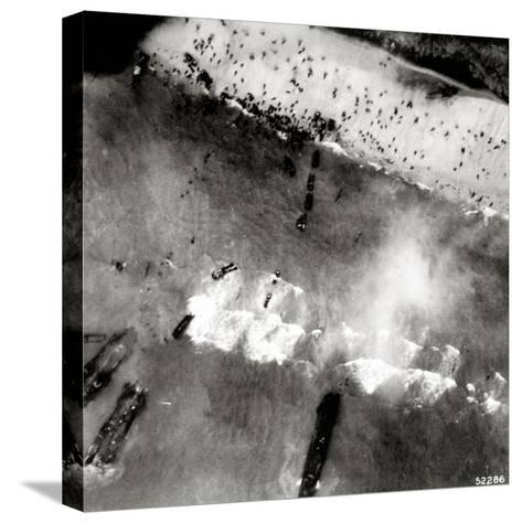Aerial View of the First Landing with Landing Craft and Allied Soldiers--Stretched Canvas Print