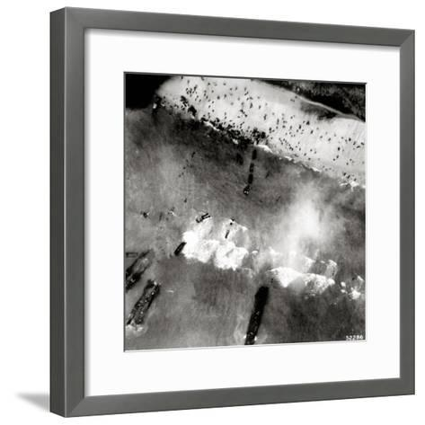 Aerial View of the First Landing with Landing Craft and Allied Soldiers--Framed Art Print