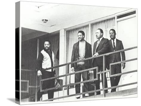 Martin Luther King Standing on the Balcony of the Memphis Hotel--Stretched Canvas Print