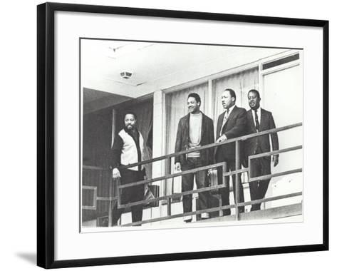 Martin Luther King Standing on the Balcony of the Memphis Hotel--Framed Art Print