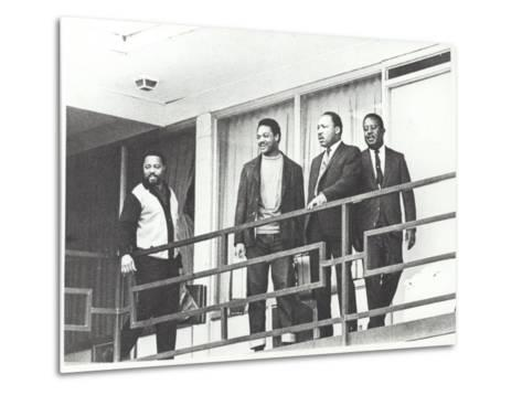Martin Luther King Standing on the Balcony of the Memphis Hotel--Metal Print