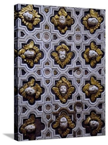 Gothic Compass Tiles Decorated with Winged Cherub Heads--Stretched Canvas Print