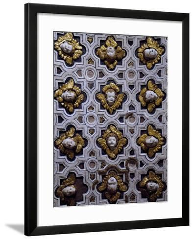 Gothic Compass Tiles Decorated with Winged Cherub Heads--Framed Art Print