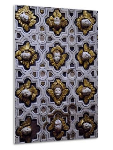 Gothic Compass Tiles Decorated with Winged Cherub Heads--Metal Print