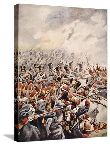 Simultaneously Followed the Levelled Bayonets of Suchet's Division--Stretched Canvas Print