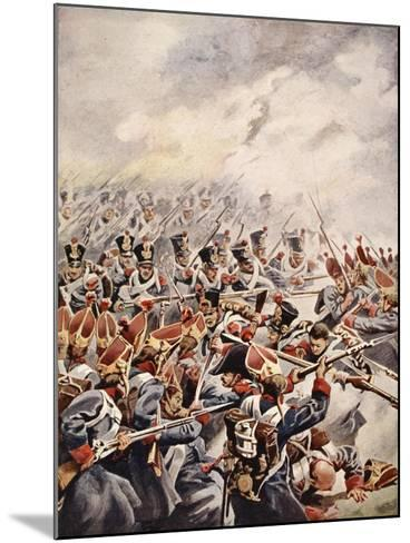Simultaneously Followed the Levelled Bayonets of Suchet's Division--Mounted Giclee Print