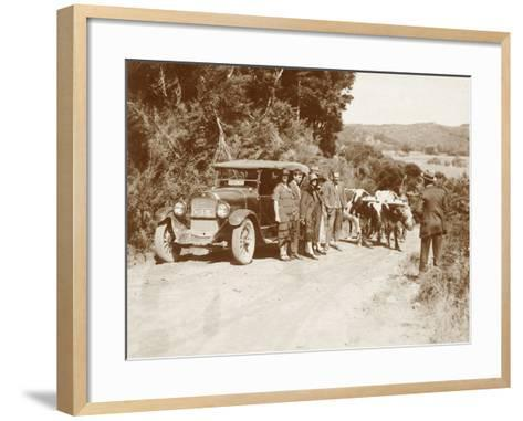 Travellers Posing Beside their Car with Two Oxen and a Cattle Driver--Framed Art Print