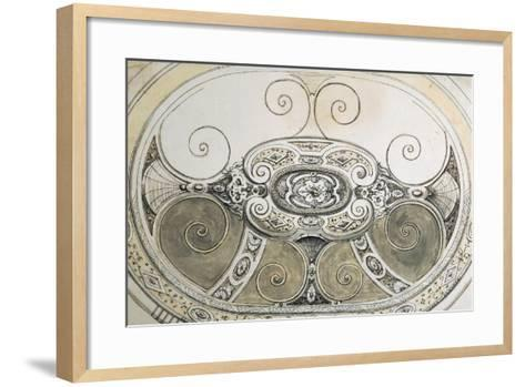 Preparatory Study for Oval Silver Basin with Bands of Geometric--Framed Art Print