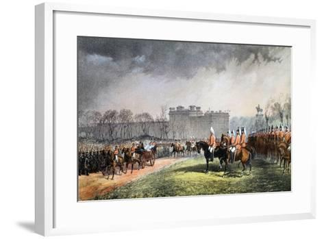 Hyde Park - the Princess Passing the Lines of the Volunteers--Framed Art Print