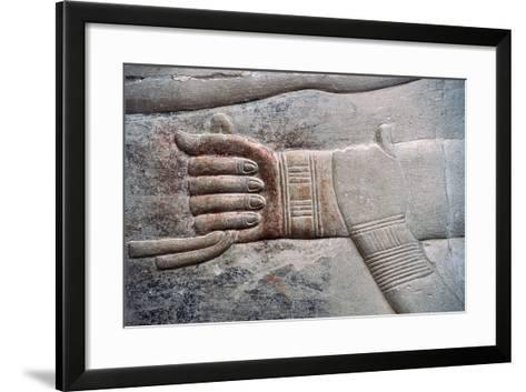 Relief of Wife's Gesture of Placing Her Hand on Her Husband's Arm--Framed Art Print