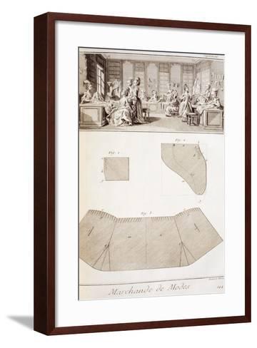 Plate Showing Dressmaking Workshop and Clothes Patterns--Framed Art Print