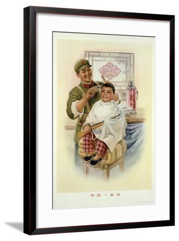 Soldiers and the People are Great Friends Like a Family--Framed Art Print