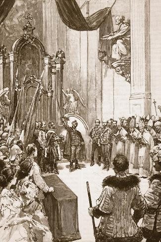 Coronation of the Emperor of Austria as King of Hungary--Stretched Canvas Print