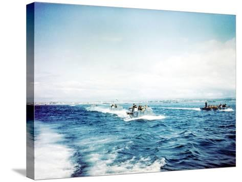 British Navy Landing Crafts Carry United States Army Rangers to a Ship--Stretched Canvas Print