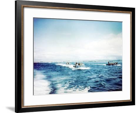 British Navy Landing Crafts Carry United States Army Rangers to a Ship--Framed Art Print