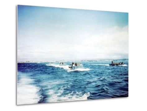 British Navy Landing Crafts Carry United States Army Rangers to a Ship--Metal Print