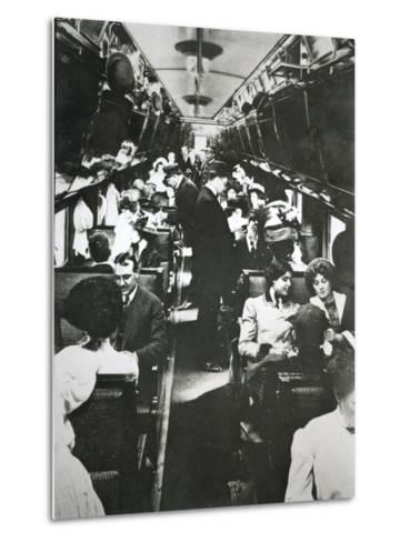 The Tourist Sleeper Car on 'The Denver Limited' of the Chicago--Metal Print