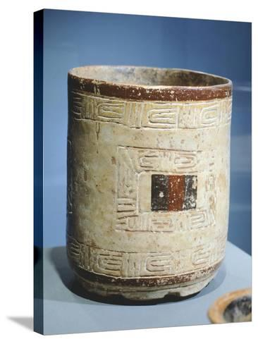 Polychrome Patterned Terracotta Cylindrical Vase--Stretched Canvas Print