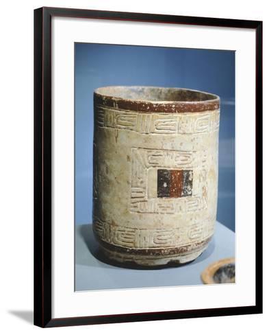 Polychrome Patterned Terracotta Cylindrical Vase--Framed Art Print
