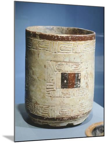 Polychrome Patterned Terracotta Cylindrical Vase--Mounted Giclee Print