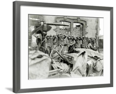German Prisoners Lined Up in Front of a Ruined House--Framed Art Print