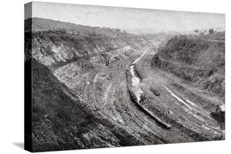 Culebra Cut from West Bank Showing Shovels at Work--Stretched Canvas Print