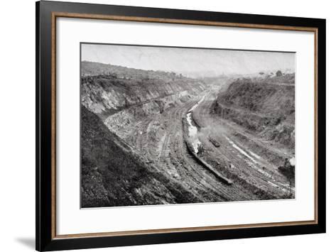 Culebra Cut from West Bank Showing Shovels at Work--Framed Art Print