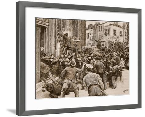 Scene in the Birmingham 'No Popery' Riots--Framed Art Print