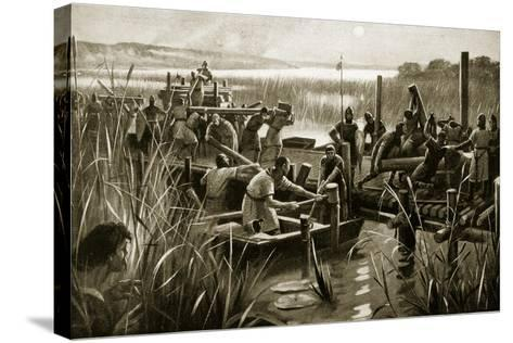 The Building of William's Causeway at Ely--Stretched Canvas Print