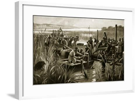 The Building of William's Causeway at Ely--Framed Art Print