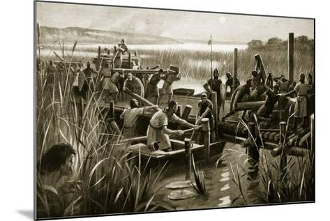 The Building of William's Causeway at Ely--Mounted Giclee Print