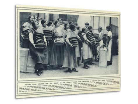 Packing Steel Helmets for the Troops at the Front--Metal Print