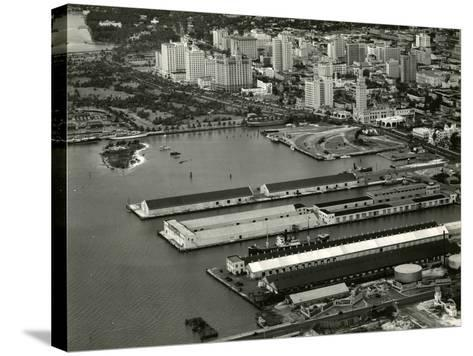 The Port of Miami with the Freedom Tower--Stretched Canvas Print