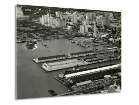 The Port of Miami with the Freedom Tower--Metal Print