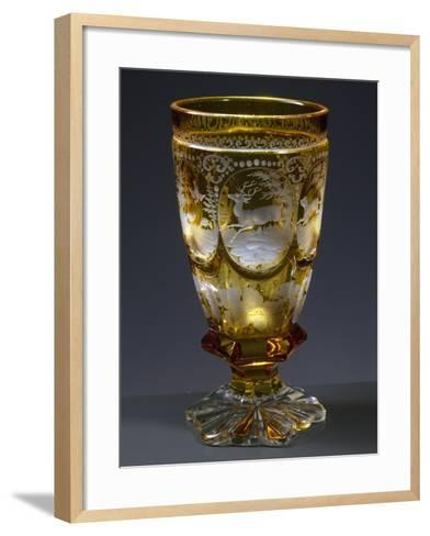 Goblet with Hunting Subject in Coloured Uranium Glass--Framed Art Print