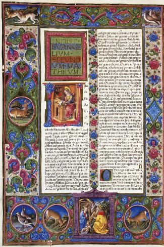 Incipit from Gospel According to Matthew--Stretched Canvas Print